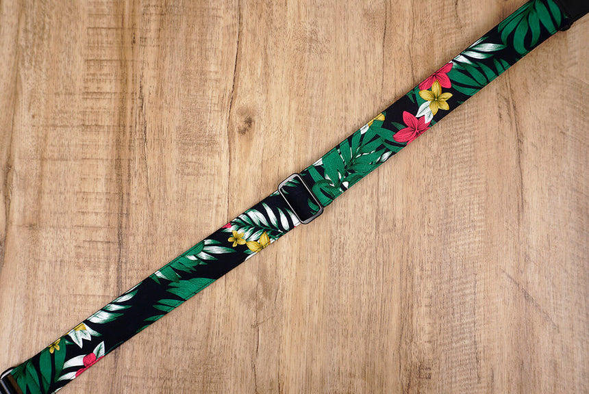 Hawaiian leaf and flower ukulele shoulder strap with leather ends-3