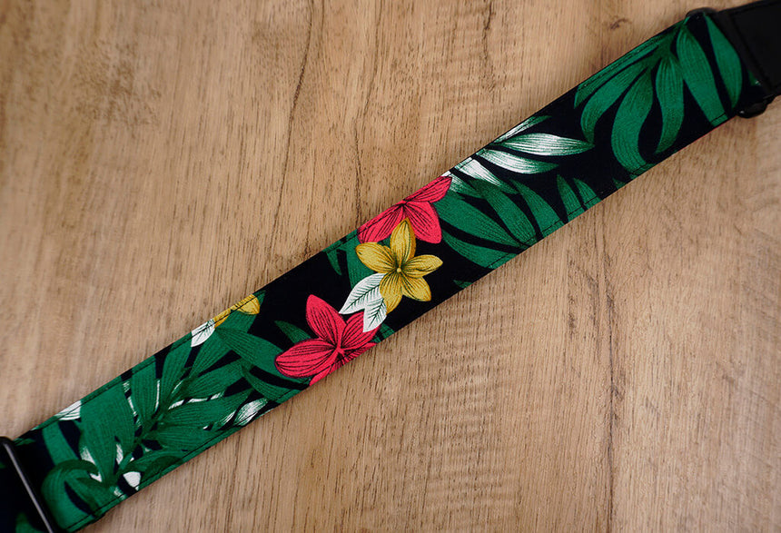 Hawaiian leaf and flower ukulele shoulder strap with leather ends-5