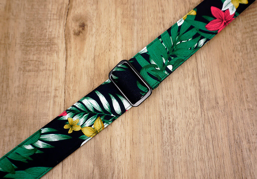 Hawaiian leaf and flower ukulele shoulder strap with leather ends-6