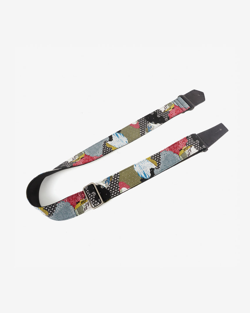 Japanese culture guitar strap with leather ends