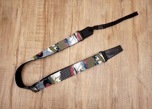 Japanese culture ukulele shoulder strap with leather ends-2