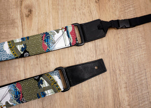 Japanese culture ukulele shoulder strap with leather ends-3