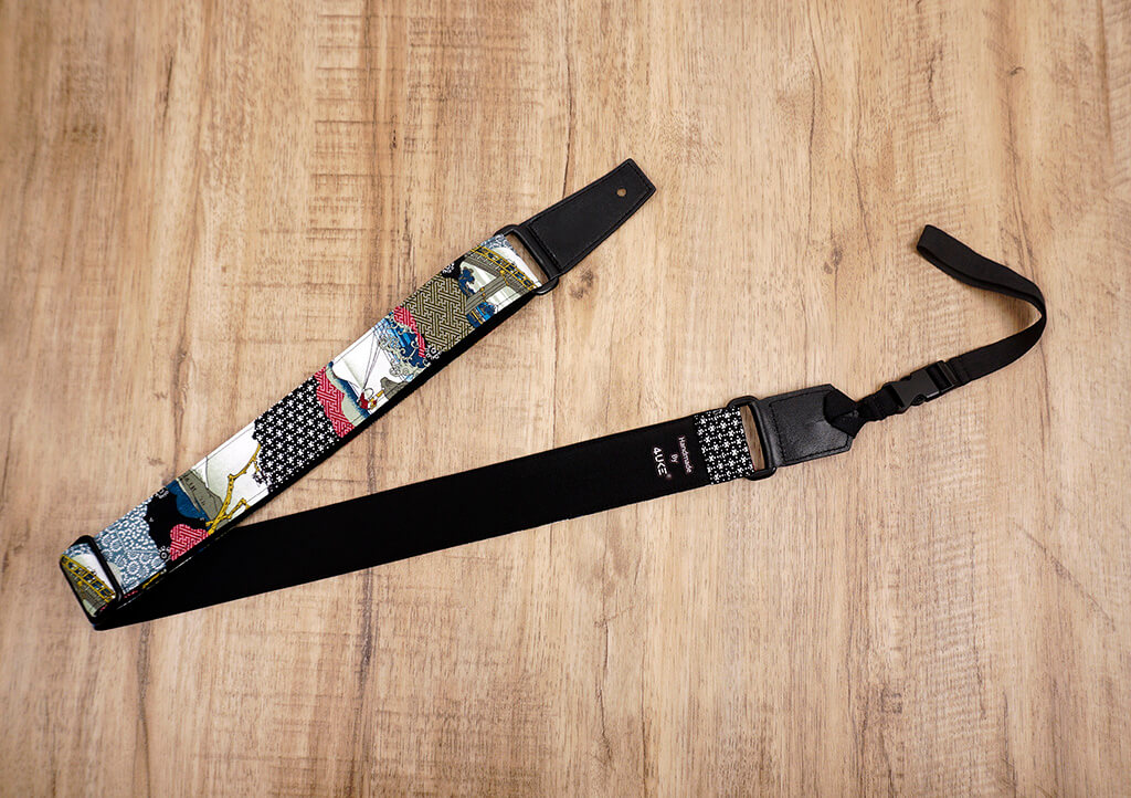 Japanese culture ukulele shoulder strap with leather ends-4