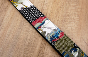 Japanese culture ukulele shoulder strap with leather ends-5
