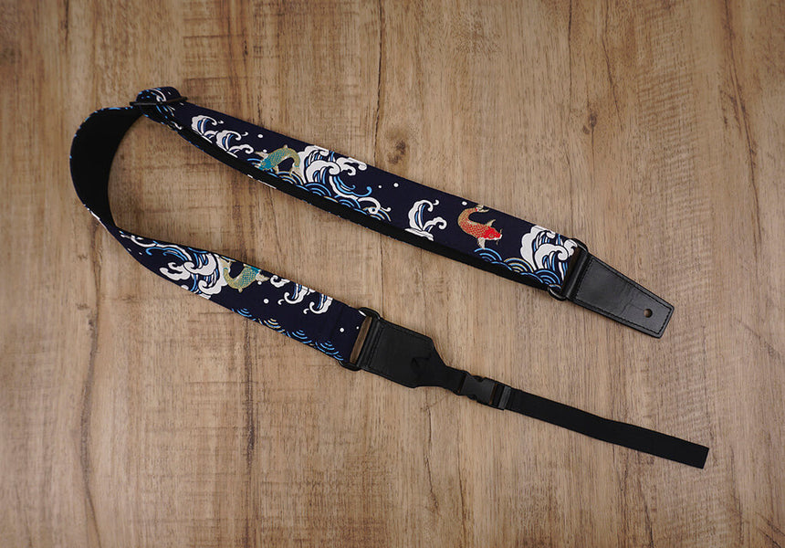 koi fish ukulele shoulder strap with leather ends -2