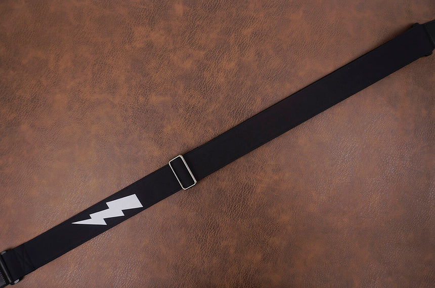 lightning reflective guitar strap with leather ends-3