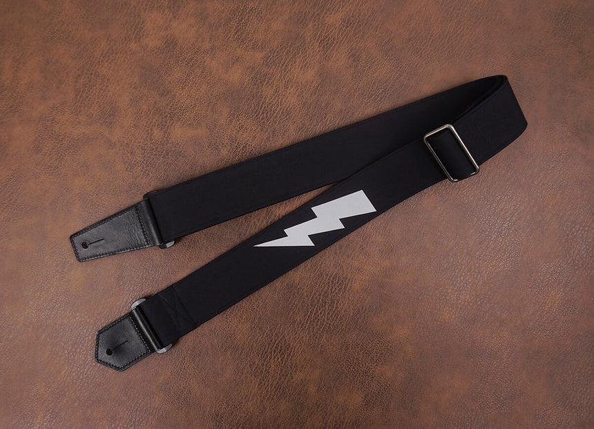 lightning reflective guitar strap with leather ends-5