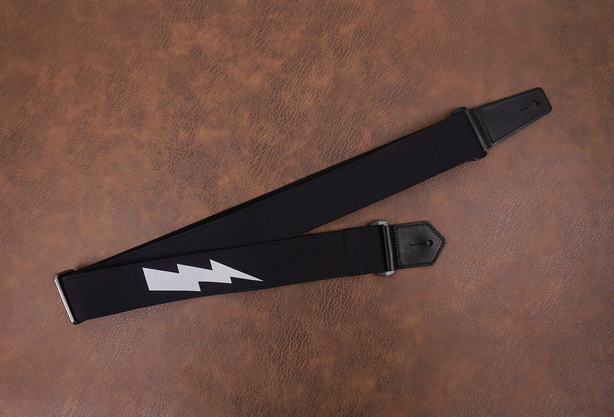 lightning reflective guitar strap with leather ends-6