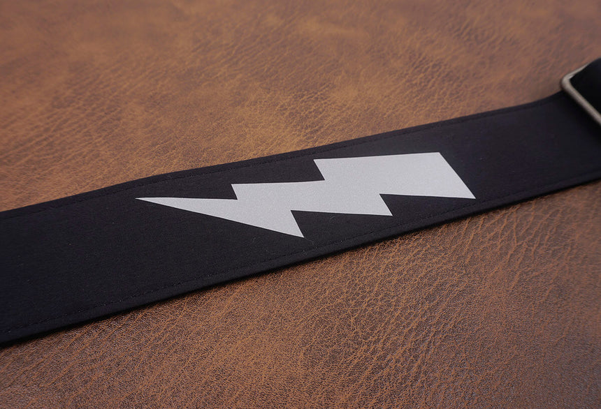lightning reflective guitar strap with leather ends-7