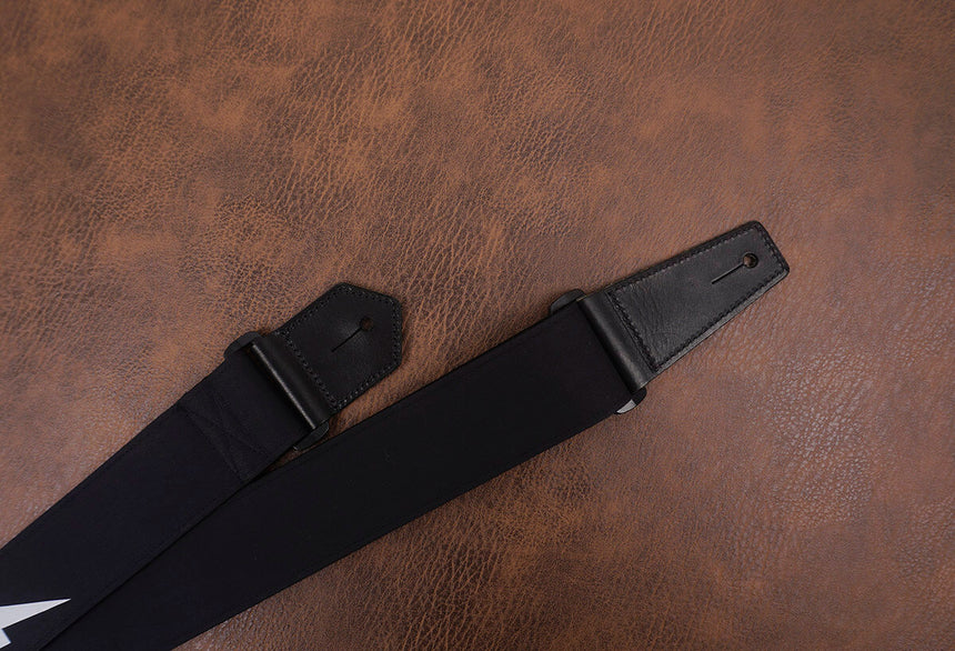 lightning reflective guitar strap with leather ends-8