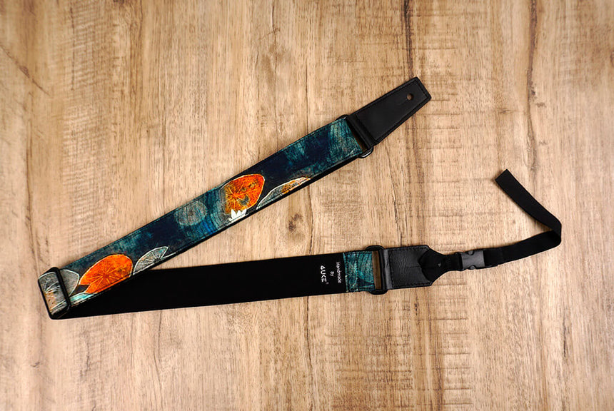 Ink style lotus ukulele shoulder strap with leather ends-3