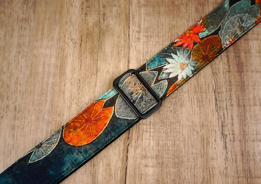 Ink style lotus ukulele shoulder strap with leather ends-5