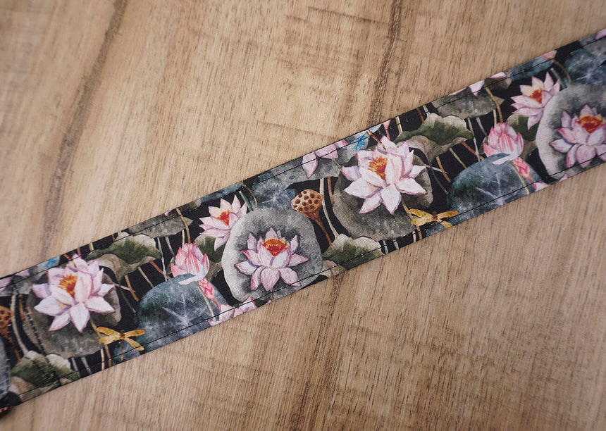 Lotus flower guitar strap with leather ends-4
