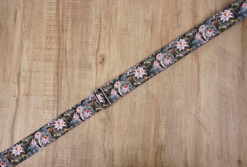 Lotus flower guitar strap with leather ends-5