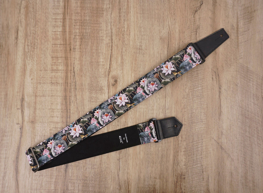 Lotus flower guitar strap with leather ends-2