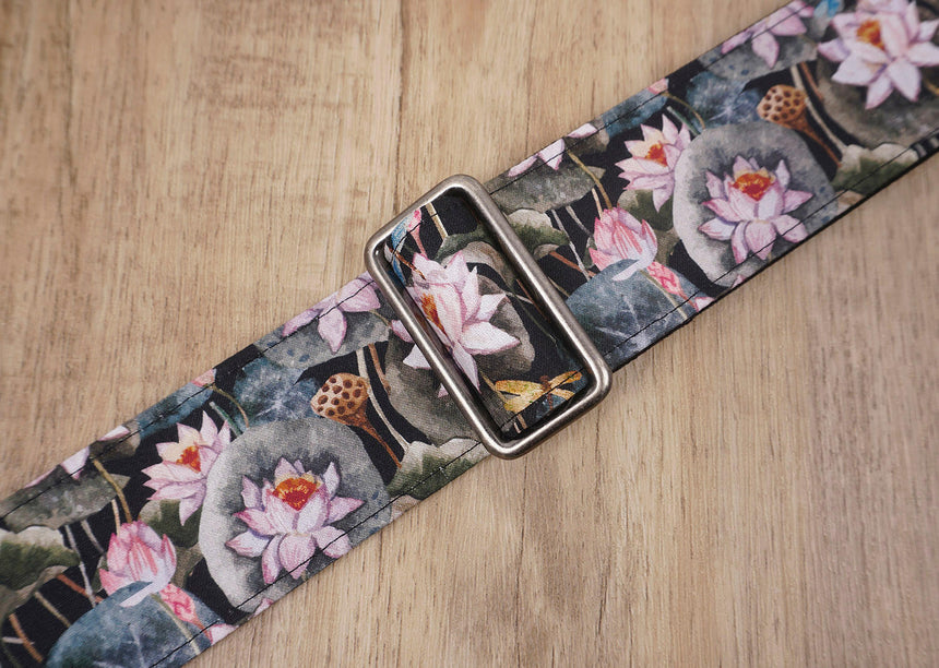 Lotus flower guitar strap with leather ends-6