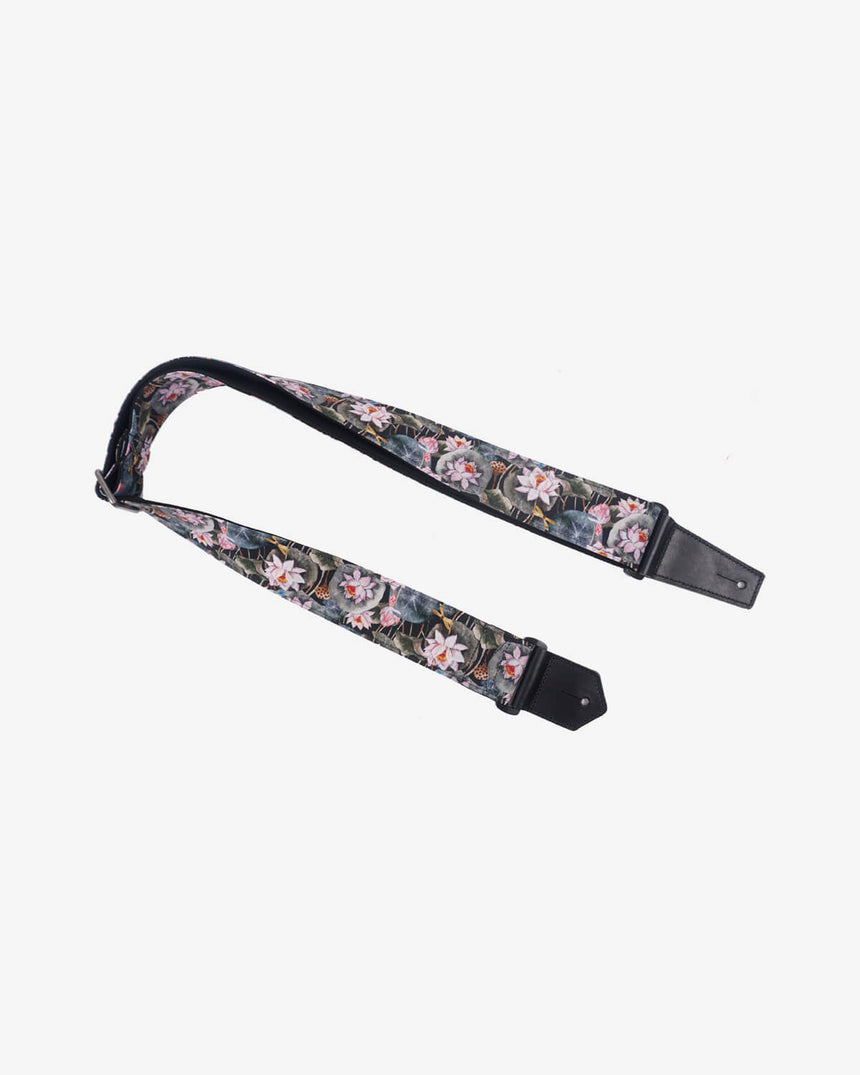 Lotus flower guitar strap with leather ends-1