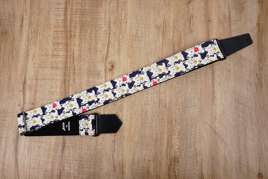 white lucky cat guitar strap with leather ends-3