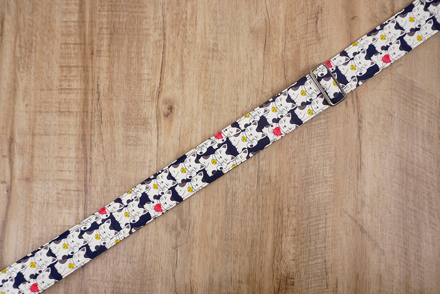 white lucky cat guitar strap with leather ends-5