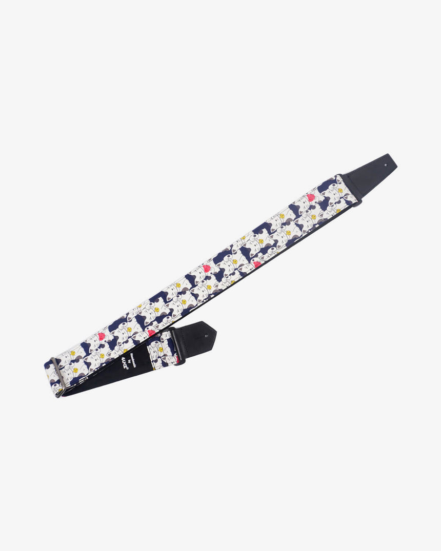 white lucky cat guitar strap with leather ends-1