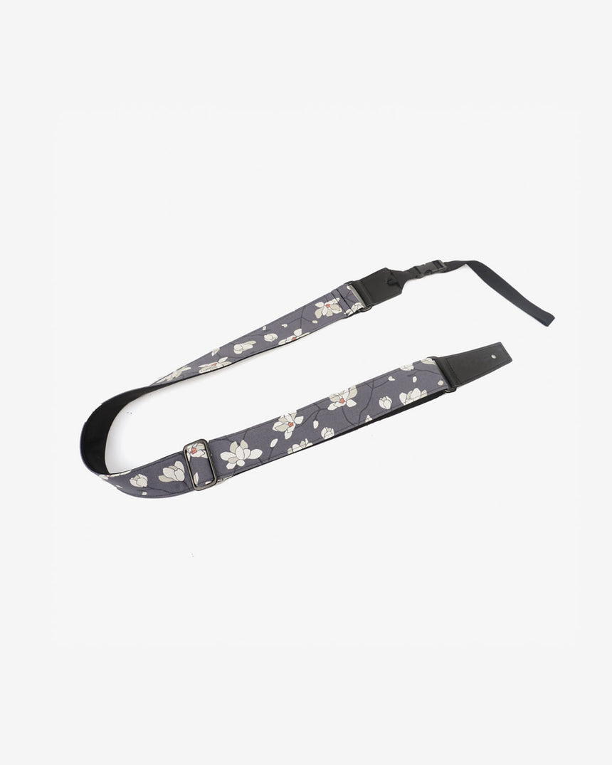 ukulele shoulder strap with magnolia flower printed-front-1