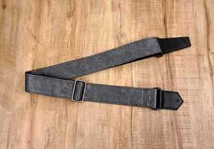 metallic grey eco guitar strap with leather ends-2