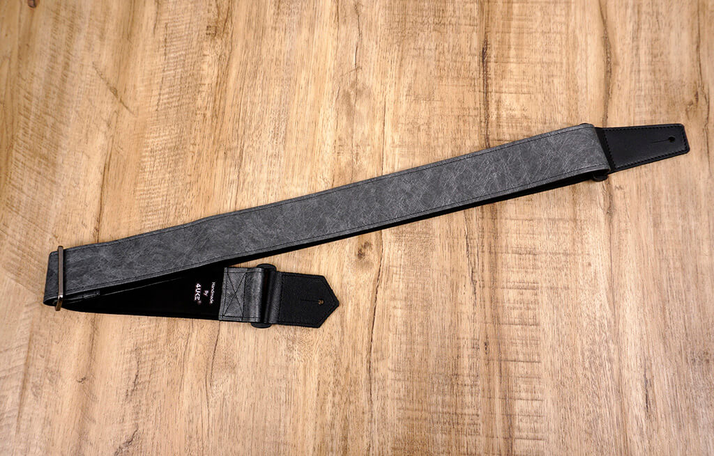 metallic grey eco guitar strap with leather ends-3