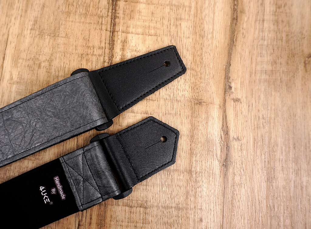 metallic grey eco guitar strap with leather ends-5