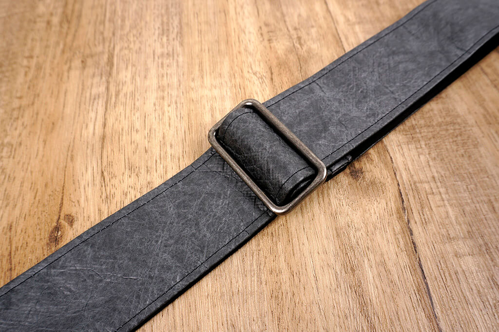 metallic grey eco guitar strap