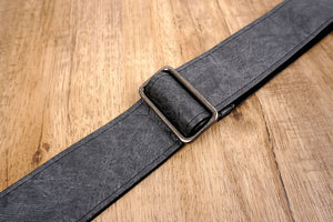 metallic grey eco guitar strap with leather ends-6