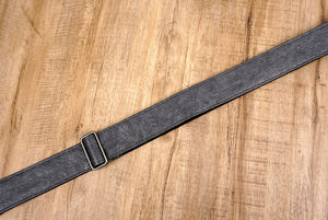 metallic grey eco guitar strap with leather ends-7