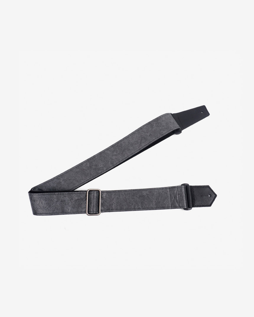 metallic grey eco guitar strap with leather ends-1