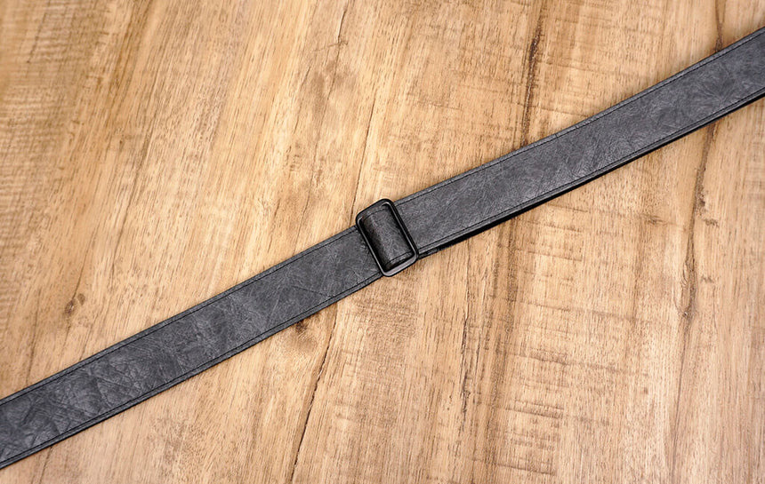 metallic grey eco ukulele shoulder strap with leather ends-5