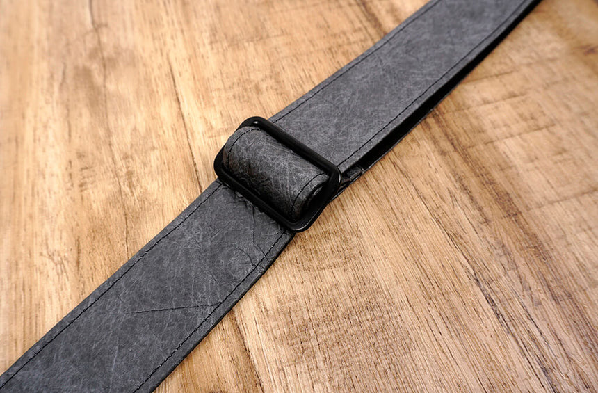 metallic grey eco ukulele shoulder strap with leather ends-6