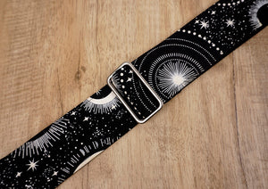 moon star glow in the dark guitar strap with leather ends-6