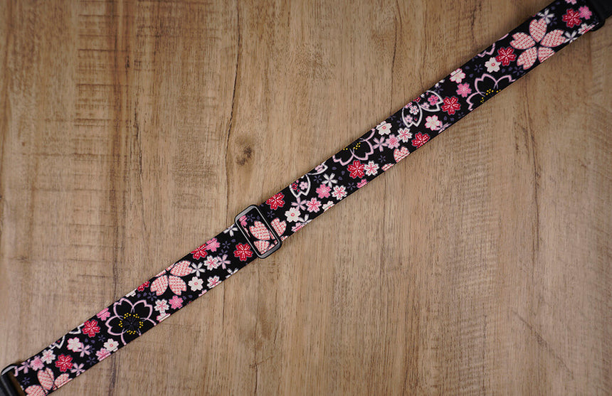 pink sakura floral ukulele shoulder strap with leather ends -4