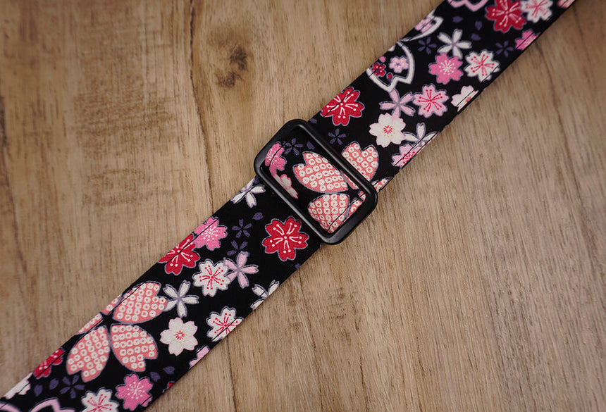 pink sakura floral ukulele shoulder strap with leather ends -6