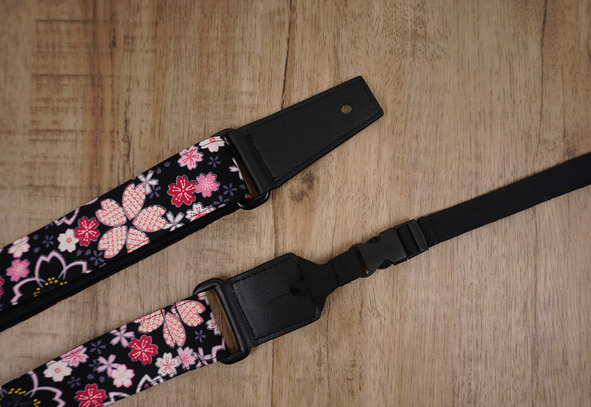pink sakura floral ukulele shoulder strap with leather ends -7