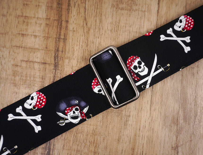 Pirate on black guitar strap with leather ends -6