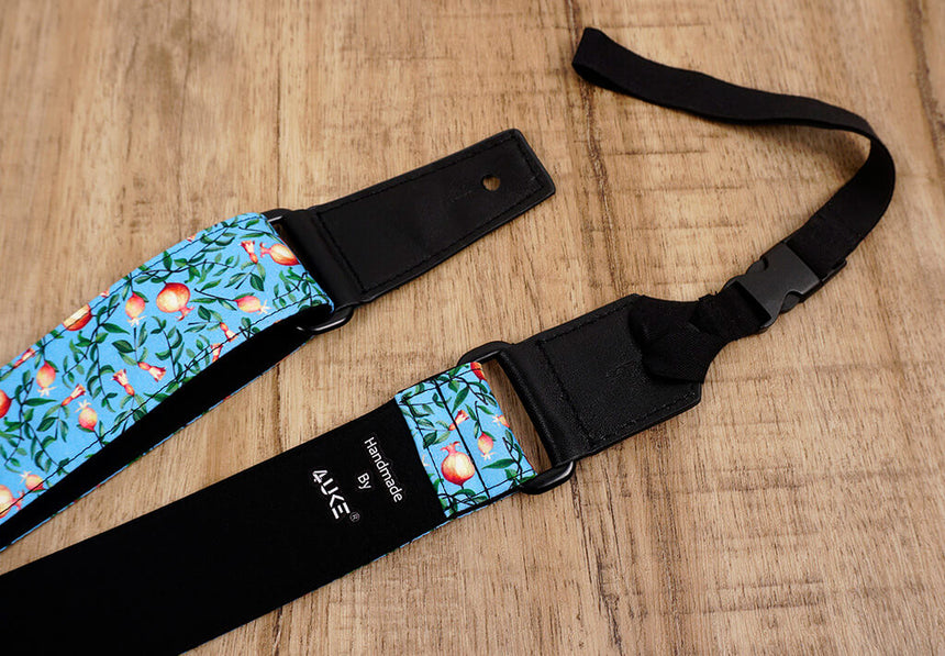 pomegranate ukulele shoulder strap with leather ends-5