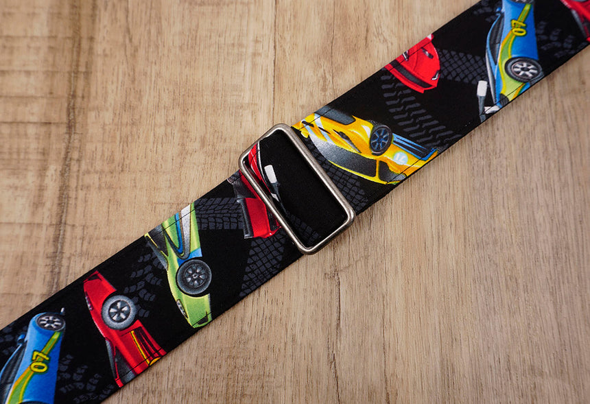 race car guitar strap with leather ends - 5