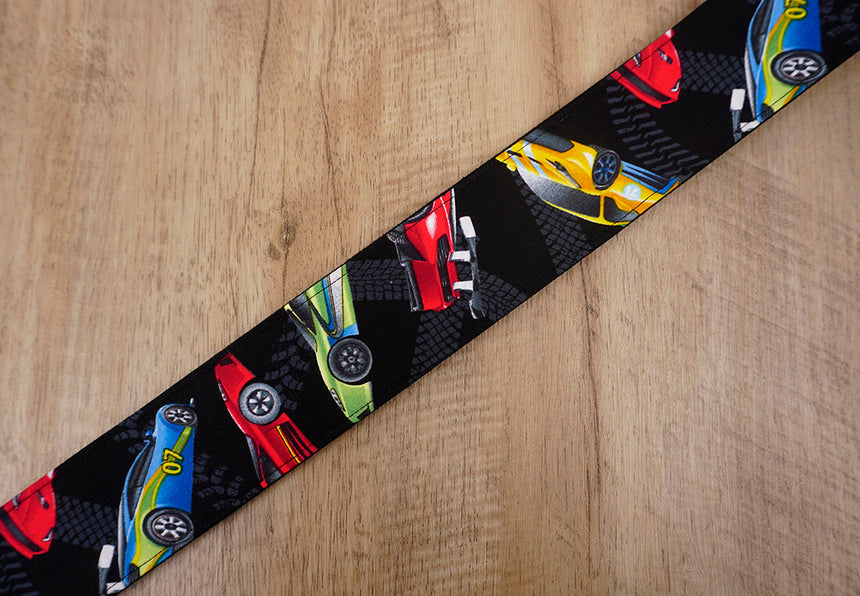 race car guitar strap with leather ends - 6