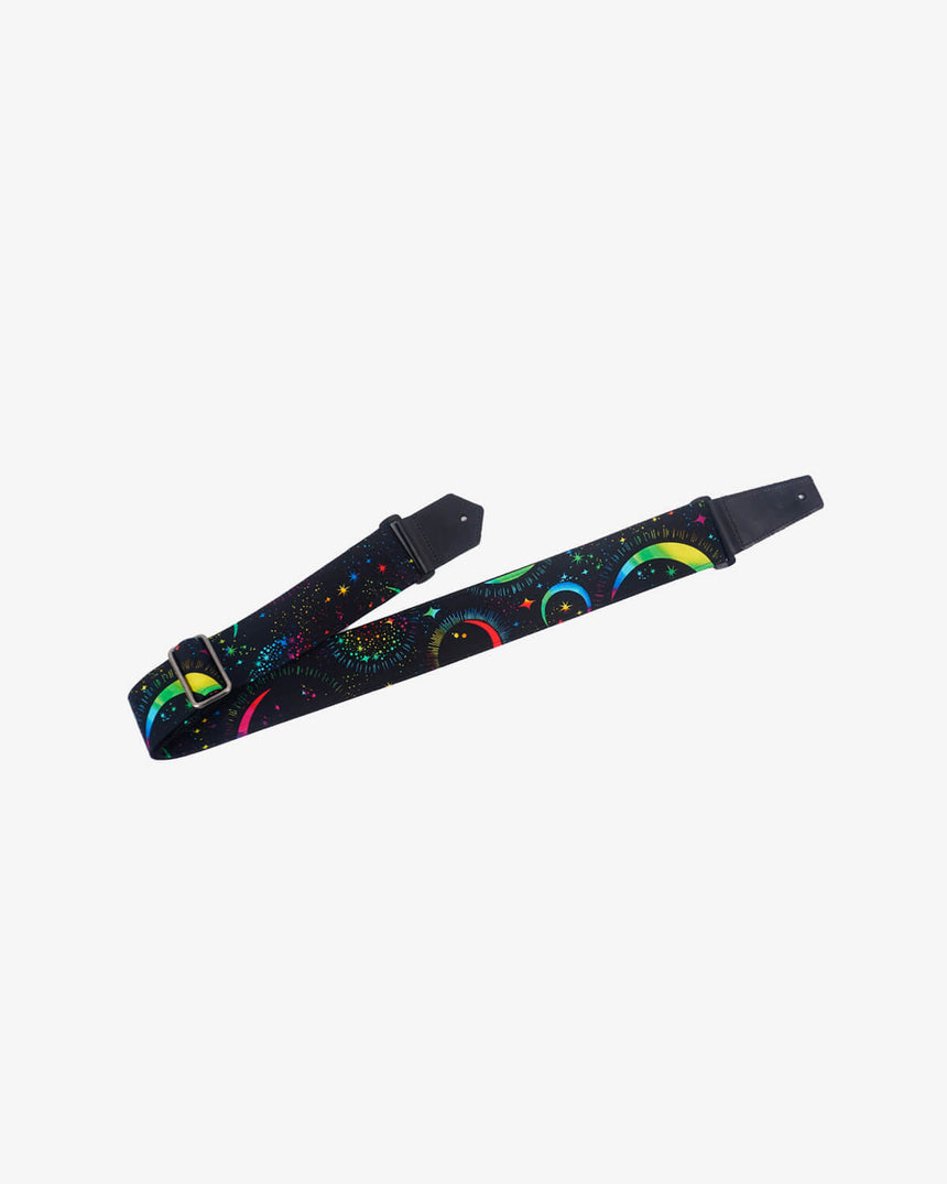 Rainbow Moon Star Guitar Strap with leather ends -1