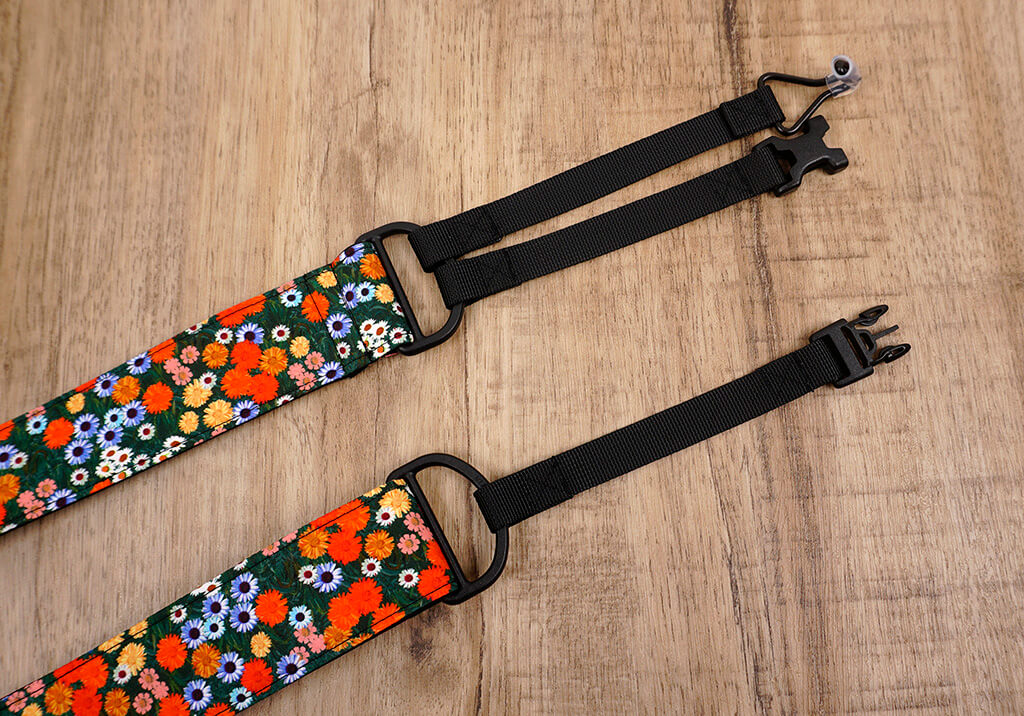 red daisy clip-on ukulele hook strap-6
