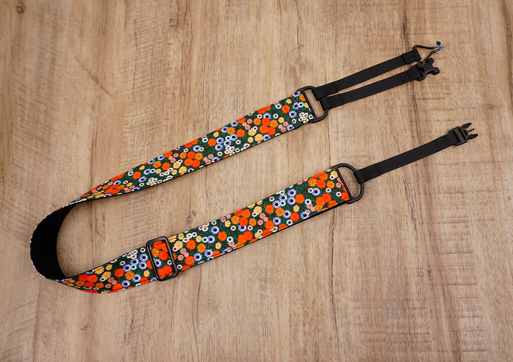 red daisy clip-on ukulele hook strap-7