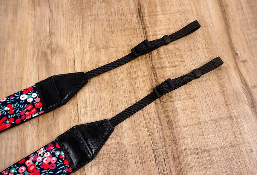 red berry floral camera strap-3