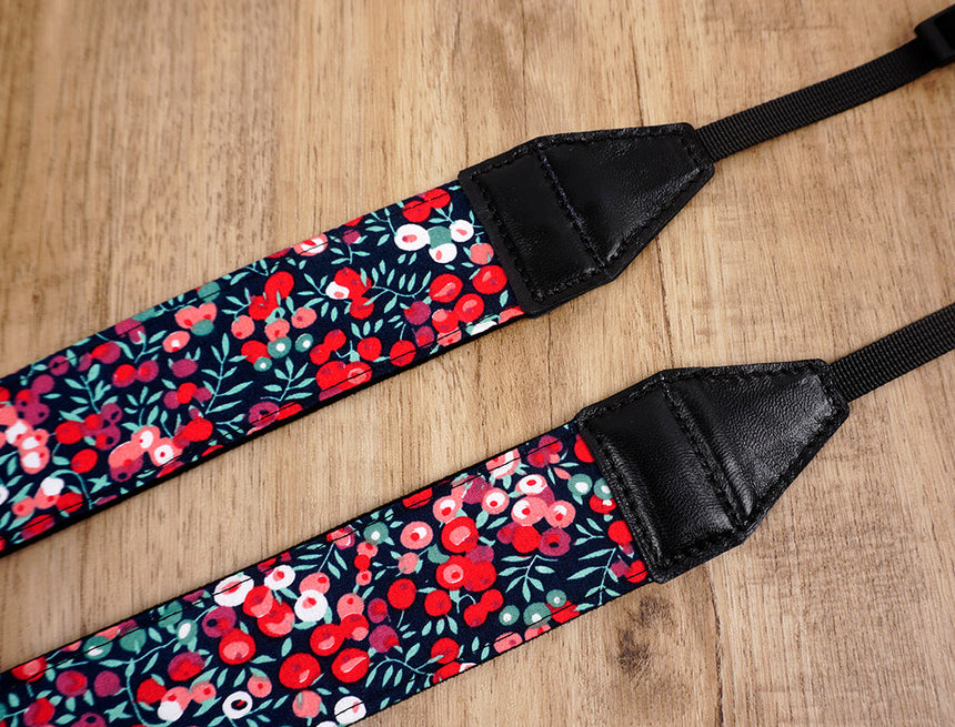 red berry floral camera strap-4