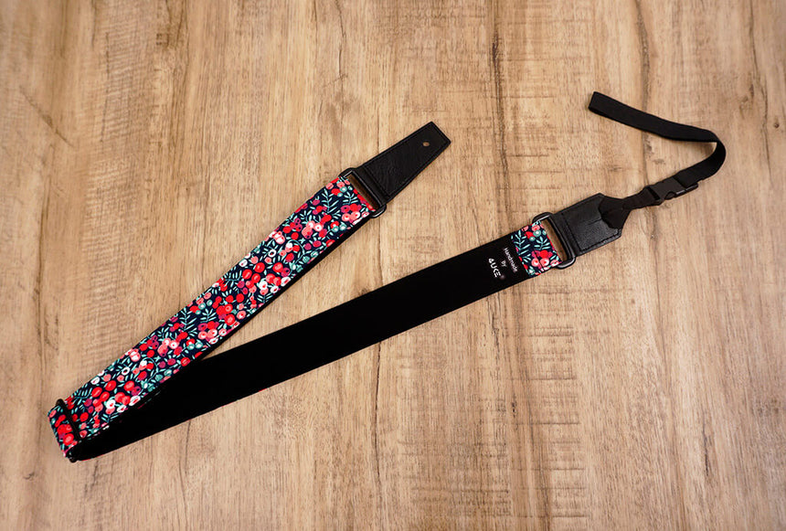 red berry ukulele shoulder strap with leather ends-3