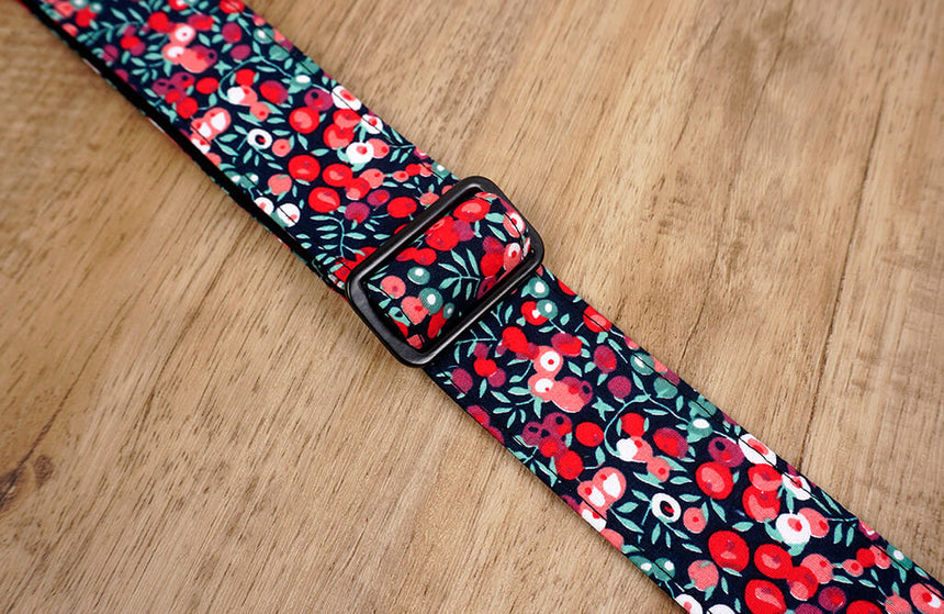 red berry ukulele shoulder strap with leather ends-5