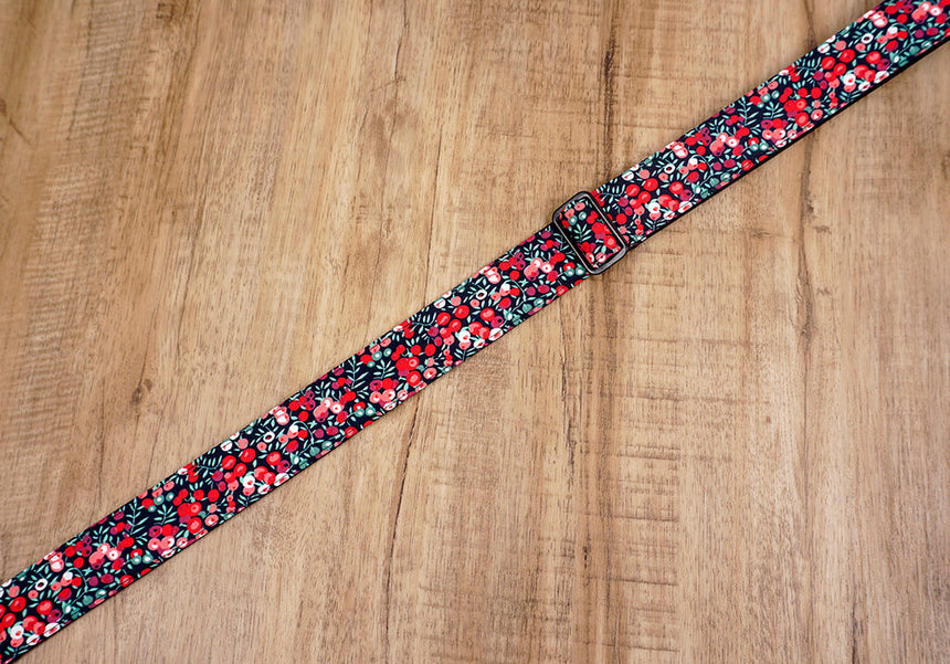 red berry ukulele shoulder strap with leather ends-6